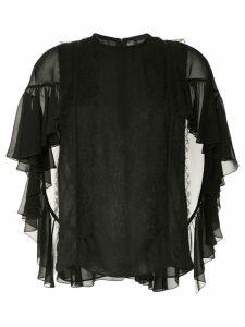 Giambattista Valli cascading ruffle sleeve blouse - Black
