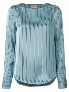 Moncler striped curved hem blouse - Blue