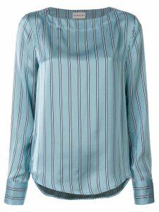 Moncler striped curved hem blouse - Blue