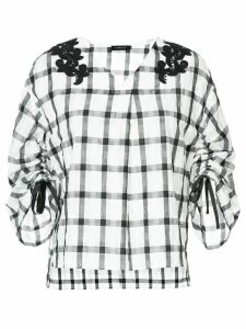 Loveless check flared blouse - White