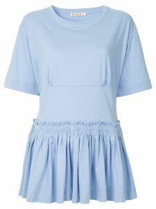 Marni dropped waist peplum blouse - Blue