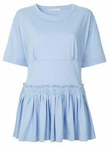 Marni dropped waist peplum blouse - Blue