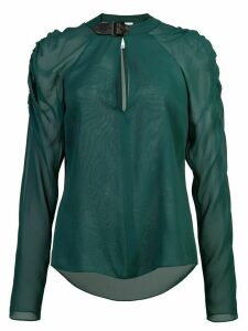 Fleur Du Mal ruched sleeve sheer blouse - Green