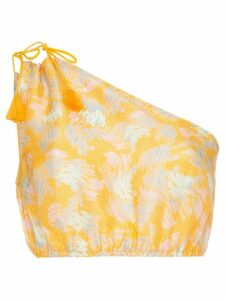 A Peace Treaty Yuna one-shoulder print silk linen-blend top - Yellow