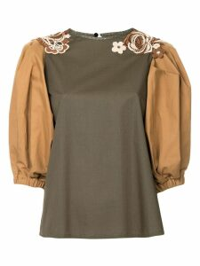 Antonio Marras floral appliqué colour block blouse - Green