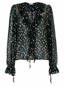 Saint Laurent metallic polka dot ruffle blouse - Black