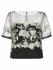 Marchesa Notte embroidered tulle blouse - Black