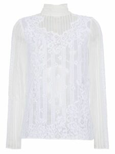 Valentino Silk High Neck Lace Top - White