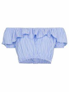 Miu Miu off-shoulder strap cropped top - Blue