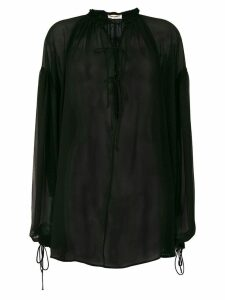 Saint Laurent sheer tie neck blouse - Black