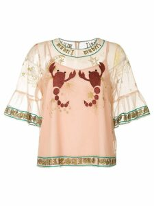 Muveil embroidered mesh blouse - Neutrals