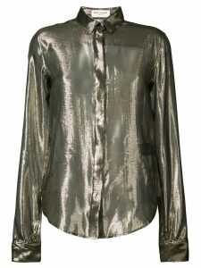 Saint Laurent sheer metallic blouse - Yellow