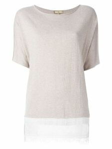 Fay relaxed lace hem blouse - Neutrals