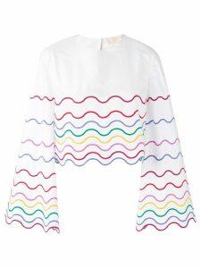 Sara Battaglia wave patterned blouse - White