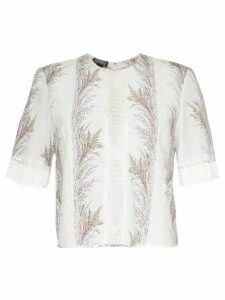Giambattista Valli embroidered panelled blouse - White