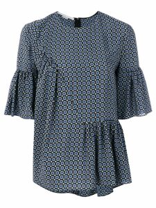 Stella McCartney patterned blouse with ruffle features - Blue