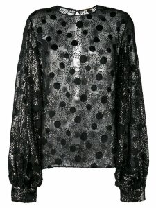 Saint Laurent sheer polka dot blouse - Black