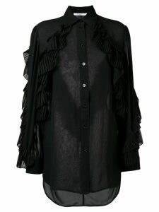 Givenchy ruffled style transparent blouse - Black