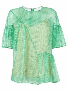 Stella McCartney circle star flounce blouse - Green