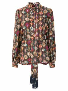 Michel Klein abstract-print silk blouse - Brown