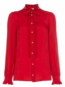 Gucci silk ruffle front blouse - Red