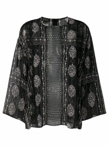 Giambattista Valli sheer floral panel top - Black