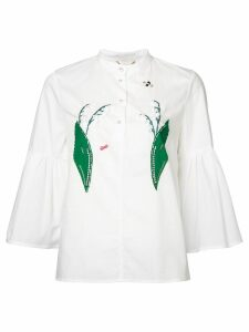 Muveil lily of the valley appliqué blouse - White