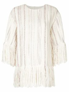 Goen.J Fringe-trimmed stripe-woven top - White