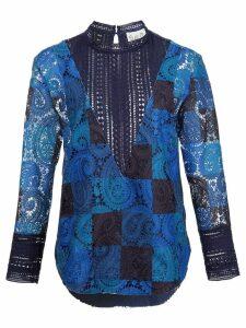 Sea lace cut-off blouse - Blue