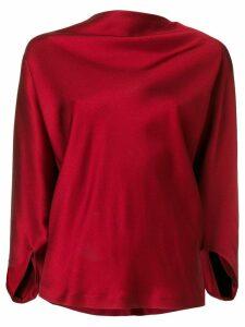 Chalayan draped satin top - Red
