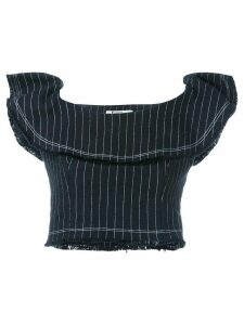 T By Alexander Wang pinstriped cropped top - Blue
