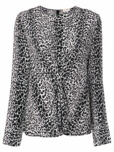 Saint Laurent leopard print gathered blouse - Black