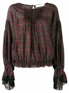 Chloé printed lace-trim blouse - Red