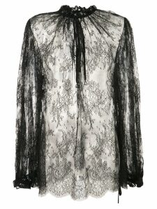 Alexander McQueen sheer lace blouse - Black