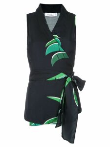 Amir Slama tropical print wrap style blouse - Black