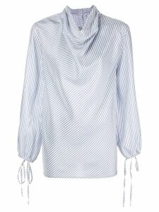 Loewe cowl neck striped blouse - Blue