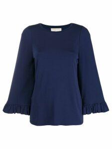 Michael Michael Kors round neck ruffle sleeve blouse - Blue