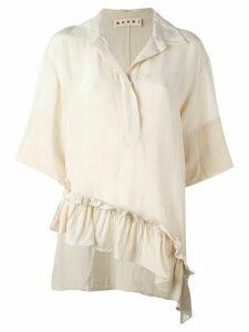 Marni asymmetric ruffle blouse - NEUTRALS