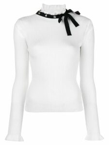 Red Valentino bow ribbed jumper - White