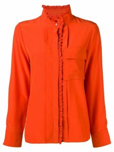 Chloé frilled band collar blouse - ORANGE