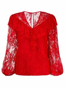 Three Floor lace pattern blouse - Red
