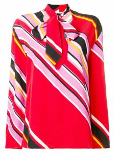 MSGM striped pussy bow blouse - Red