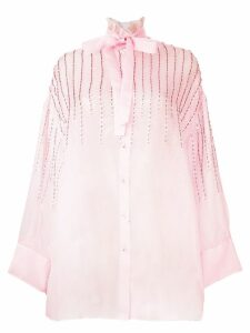 Valentino collared embellished tie neck blouse - PINK