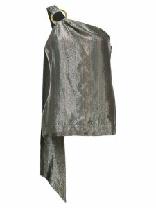 Haney Lena one-shoulder metallic top