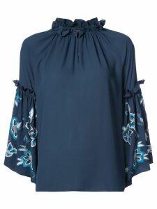 Josie Natori embroidered sleeve peasant top - Blue