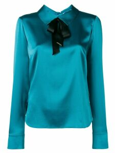Styland bow-detail satin blouse - Blue