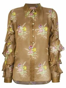Nº21 floral frill blouse - Brown
