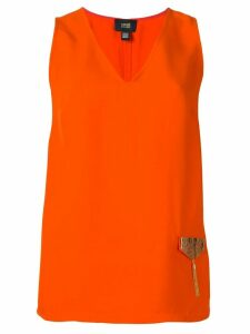 Cavalli Class metallic embellished blouse - ORANGE