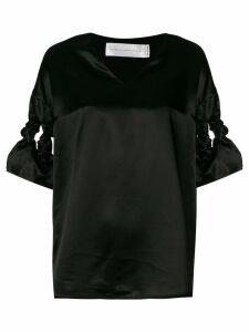 Victoria Victoria Beckham twisted sleeves detail top - Black
