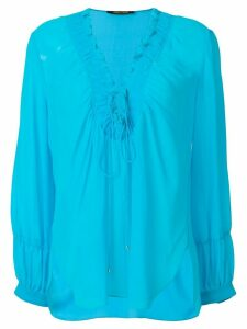 Roberto Cavalli laced neck blouse - Blue